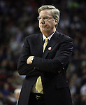 Iowa Head Coach Fran McCaffery watches his team during a timeout in their game against Davidson during 2015 NCAA Division I Men's Basketball Championship March 20, 2015 at the Key Arena in Seattle, Washington.  Iowa beat Davidson 83-52.  ©2015. Jim Bryant Photo. ALL RIGHTS RESERVED.