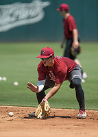 NWA Democrat-Gazette/BEN GOFF @NWABENGOFF<br /> South Carolina takes their turn on the field Friday, June 8, 2018, during practice for the NCAA Fayetteville Super Regional at Baum Stadium.
