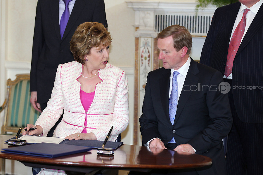 9/3/11 President Mary McAleese and Taoiseach Enda Kenny at Aras An Uachtarain for the appoinment of the Government. Pictures:Arthur Carron/Collins