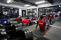 A general view as players stretch during the training session at the Fairwood Training Ground, Swansea, Wales, UK. Wednesday 04 April 2018