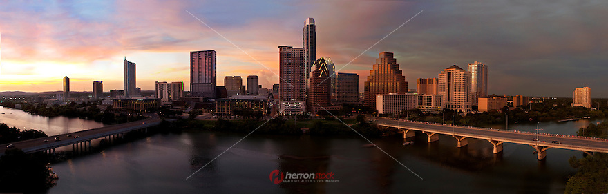 Austin Skyline Sunset Panoramic at Dusk