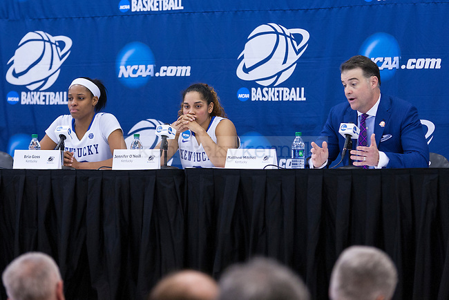 Coach Mitchell answers questions at the press conference after Kentucky's loss to Dayton in the third round of the NCAA tournament at Memorial Coliseum  on Sunday, March 22, 2015 in Lexington, Kentucky. Dayton defeated UK 99-94. Photo by Taylor Pence | Staff