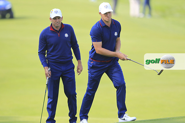 Sergio Garcia and Alex Noren (Team Europe) on the 4th during the Friday Foursomes at the Ryder Cup, Le Golf National, Ile-de-France, France. 28/09/2018.<br /> Picture Thos Caffrey / Golffile.ie<br /> <br /> All photo usage must carry mandatory copyright credit (© Golffile | Thos Caffrey)