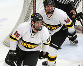 Seric Kapp (WIT - 15), Jordan Bourgonje (WIT - 16) - The Wentworth Institute of Technology Leopards defeated the visiting Curry College Colonels 1-0 on Saturday, November 23, 2013, at Walter Brown Arena in Boston, Massachusetts.