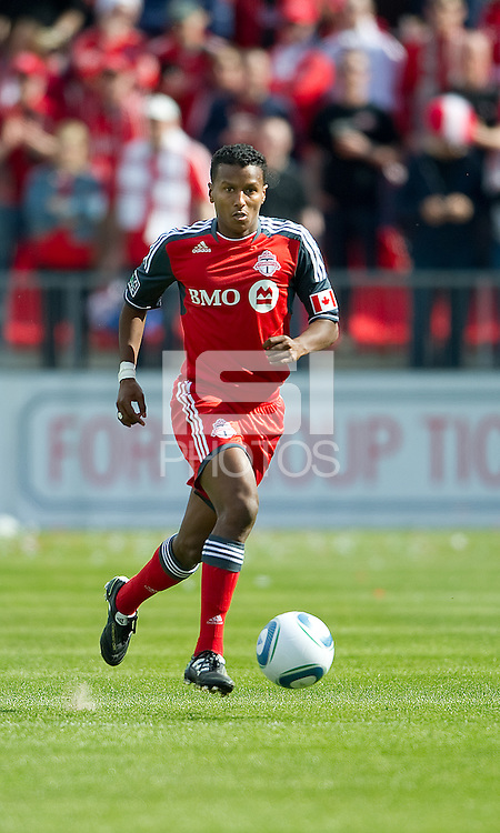 23 April 2011: Toronto FC defender Danleigh Borman #25 in action during a game between the Columbus Crew and the Toronto FC at BMO Field in Toronto, Ontario Canada..The game ended in a 1-1 draw.