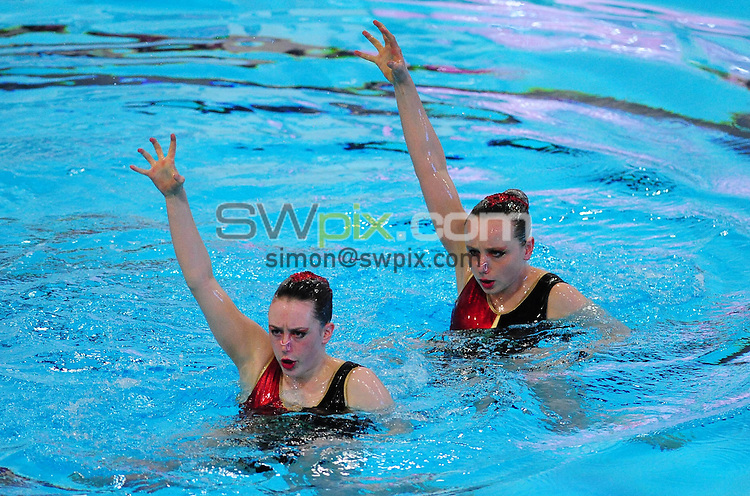 PICTURE BY ALEX BROADWAY/SWPIX.COM - Synchronised Swimming - British Gas Synchronised Swimming Championships 2012 - GL1 Leisure Centre, Gloucester, England - 25/03/12 - Emma Holloway & Alice Dale of Bristol Central SC compete in the Free Duet Final.