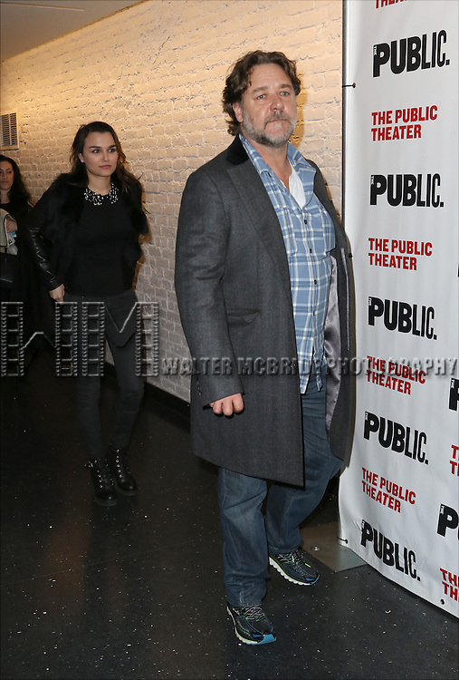 Samantha Barks and Russell Crowe attends the Opening Night Celebration of 'Grounded' at the The Public Theatre on April 24, 2015 in New York City.