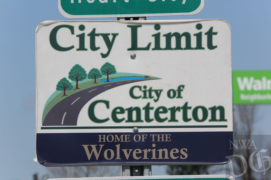 NWA Democrat-Gazette/DAVID GOTTSCHALK   city limit Centerton center ton city hall sign web net