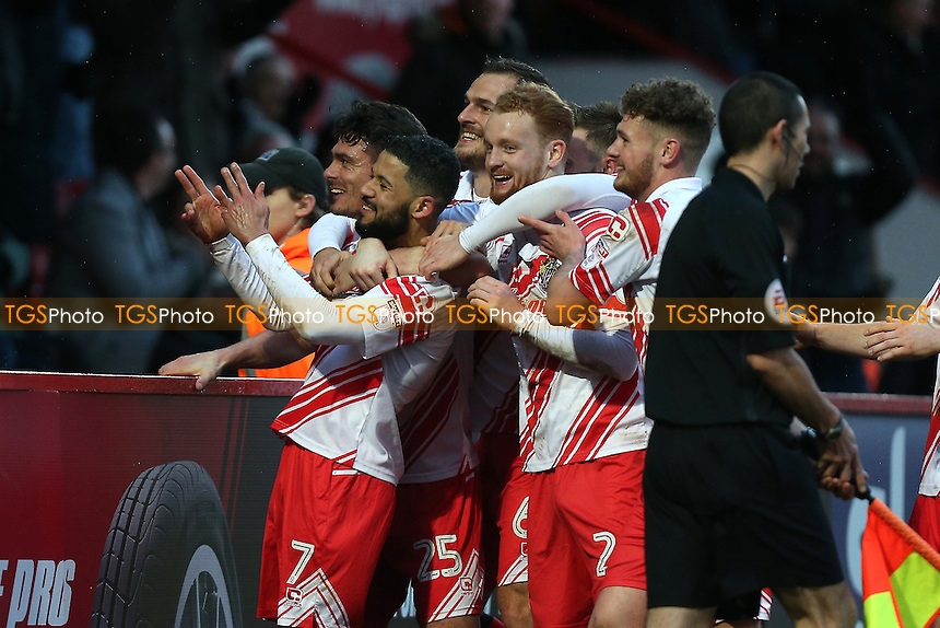 Jobi McAnuff of Stevenage scores the second goal for his team and celebrates during Stevenage vs Grimsby Town, Sky Bet EFL League 2 Football at the Lamex Stadium on 28th January 2017