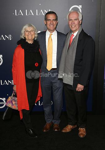 "Westwood, CA - DECEMBER 06: Sukey Garcetti, Eric Garcetti, Gil Garcetti, At Premiere Of Lionsgate's ""La La Land"" At Mann Village Theatre, California on December 06, 2016. Credit: Faye Sadou/MediaPunch"