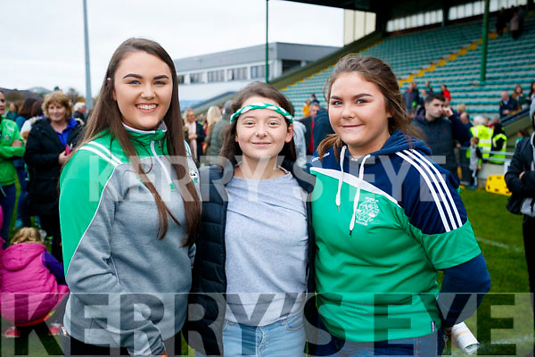 Maura Ross, Clodagh Begley and Kerrie Ross Ballyduff after the Senior County Hurling Final in Austin Stack Park on Sunday