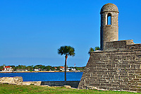 Castillo de San Marcos National Monument on a sunny spring day in St. Augustine, Florida.