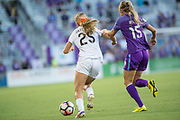 Orlando, FL - Saturday July 15, 2017: Brittany Ratcliffe, Rachel Hill during a regular season National Women's Soccer League (NWSL) match between the Orlando Pride and FC Kansas City at Orlando City Stadium.