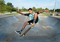NWA Democrat-Gazette/BEN GOFF @NWABENGOFF<br /> Luke Signorino of Bentonville catches air on Sunday Aug. 23, 2015 at the Memorial Park skate park in Bentonville.