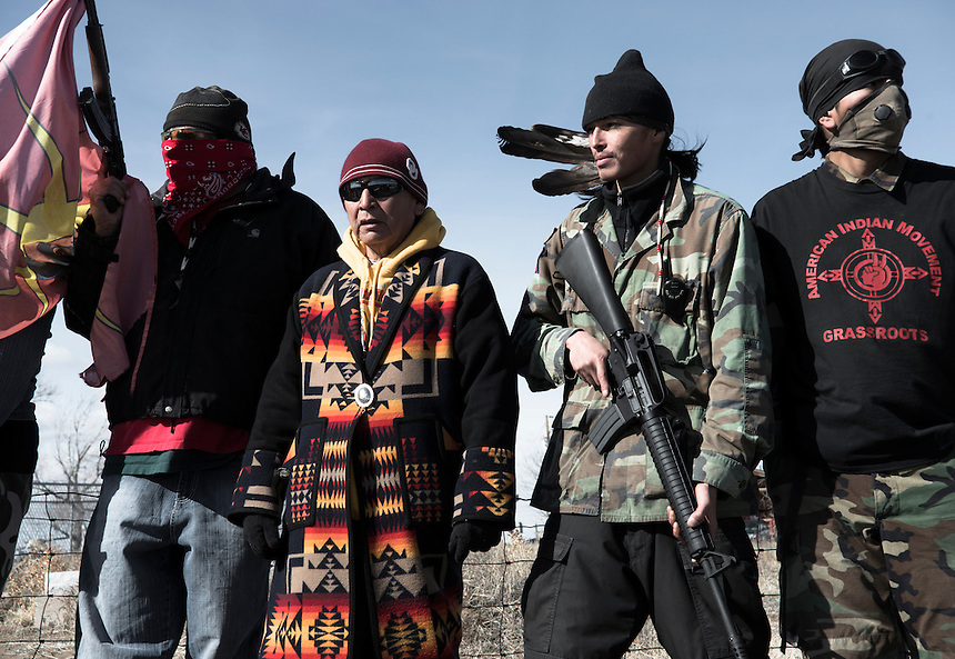 Members of the American Indian Movment at the Wounded Knee cemetery to commemorate the 40th anniversary of the Wounded Knee occupation. The ceremony honors those who stood up against the US government . Forty years ago, the American Indian Movement took over the village of Wounded Knee.
