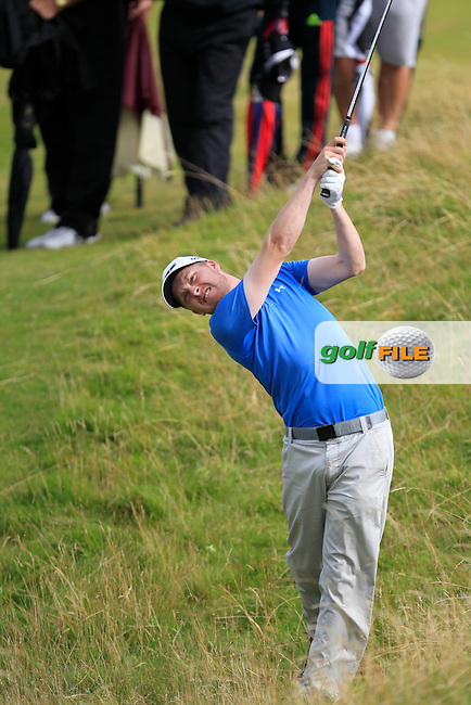 Simon Ward (Co. Louth) on the 15th during the South of Ireland Amateur Open Championship Final at Lahinch Golf Club  31th July 2013 <br /> Picture:  Thos Caffrey / www.golffile.ie