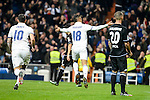 Real Madrid James Rodriguez and Mariano Diaz Mejia and Deportivo de la Coruña Guilherme Dos Santos during La Liga match between Real Madrid and Deportivo de la Coruña at Santiago Bernabeu Stadium in Madrid, Spain. December 10, 2016. (ALTERPHOTOS/BorjaB.Hojas)