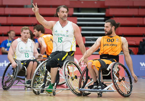 03.07.2016. Leicester Sports Arena, Leicester, England. Continental Clash Wheelchair Basketball Holland versus Australia. Brad Ness (AUS) during the first quarter of the match