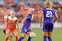 Kaylan Kyle (6) of the Orlando Pride gains control of a loose ball in front of Denise O'Sullivan (13) of the Houston Dash on Friday, May 20, 2016 at BBVA Compass Stadium in Houston Texas. The Orlando Pride defeated the Houston Dash 1-0.