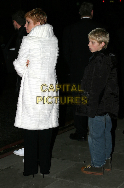 PATSY PALMER & SON CHARLEY.The Lord Of The Rings: The Return Of The King -.UK premiere in Leicester Square and afterparty at Old Billingsgate Market.11 December 2003.white fur coat.www.capitalpictures.com.sales@capitalpictures.com.© Capital Pictures.