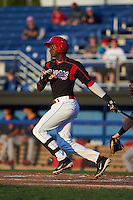 Batavia Muckdogs outfielder Galvi Moscat (27) at bat aduring a game against the State College Spikes August 22, 2015 at Dwyer Stadium in Batavia, New York.  State College defeated Batavia 5-3.  (Mike Janes/Four Seam Images)