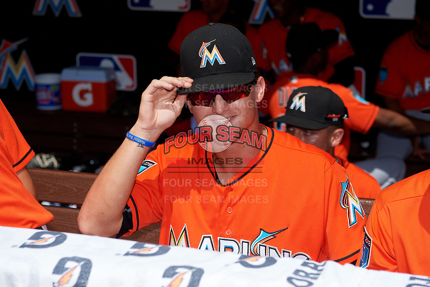 Miami Marlins Braxton Garrett (25) in the dugout before a Florida Instructional League game against the Washington Nationals on September 26, 2018 at the Marlins Park in Miami, Florida.  (Mike Janes/Four Seam Images)