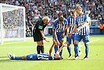10.09.2017, OLympiastadion, Berlin, GER, 1.FBL, Hertha BSC VS. SV Werder Bremen, im Bild <br /> Vedad Ibisevic (Hertha BSC Berlin #19), Niklas Stark (Hertha BSC Berlin #5), Mitchell Weiser (Hertha BSC Berlin #23), Valentin Stocker (Hertha BSC Berlin #14), Schiedsrichterin  Bibiane Steinhaus<br /> <br /> <br />       <br /> Foto &copy; nordphoto / Engler