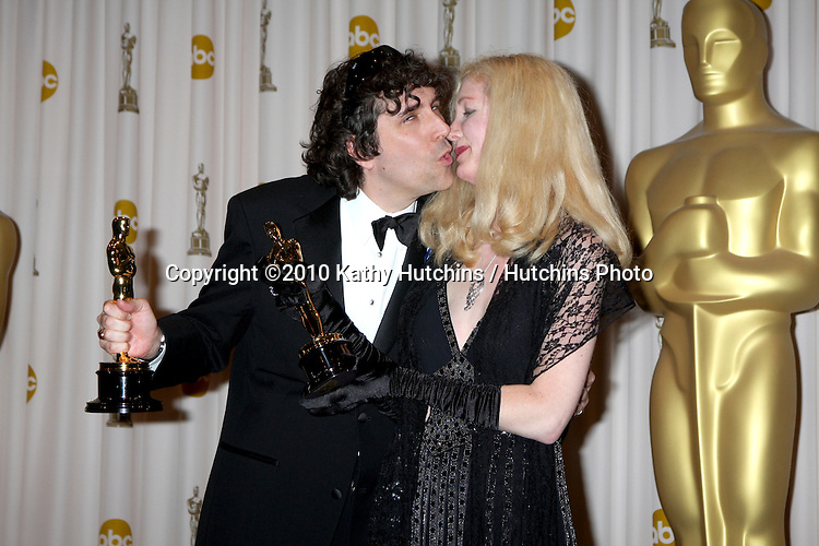 Editors Bob Murawski (L) and wife Chris Innis, winners of Best Film Editing award for 'The Hurt Locker,'.in the Press Room of the 82nd Academy Awards.Kodak Theater.Los Angeles, CA.March 7, 2010.©2010 Kathy Hutchins / Hutchins Photo....
