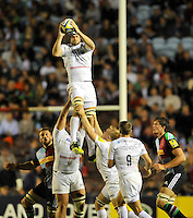 Twickenham, England. Alistair Hargreaves (Captain) of Saracens wins the line out during the Aviva Premiership match between Harlequins and Saracens at Twickenham Stoop on September 12, 2014 in London, England.