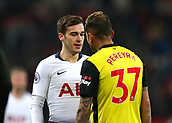 30th January 2019, Wembley Stadium, London England; EPL Premier League football, Tottenham Hotspur versus Watford; Harry Winks of Tottenham Hotspur squares up to Roberto Pereyra of Watford
