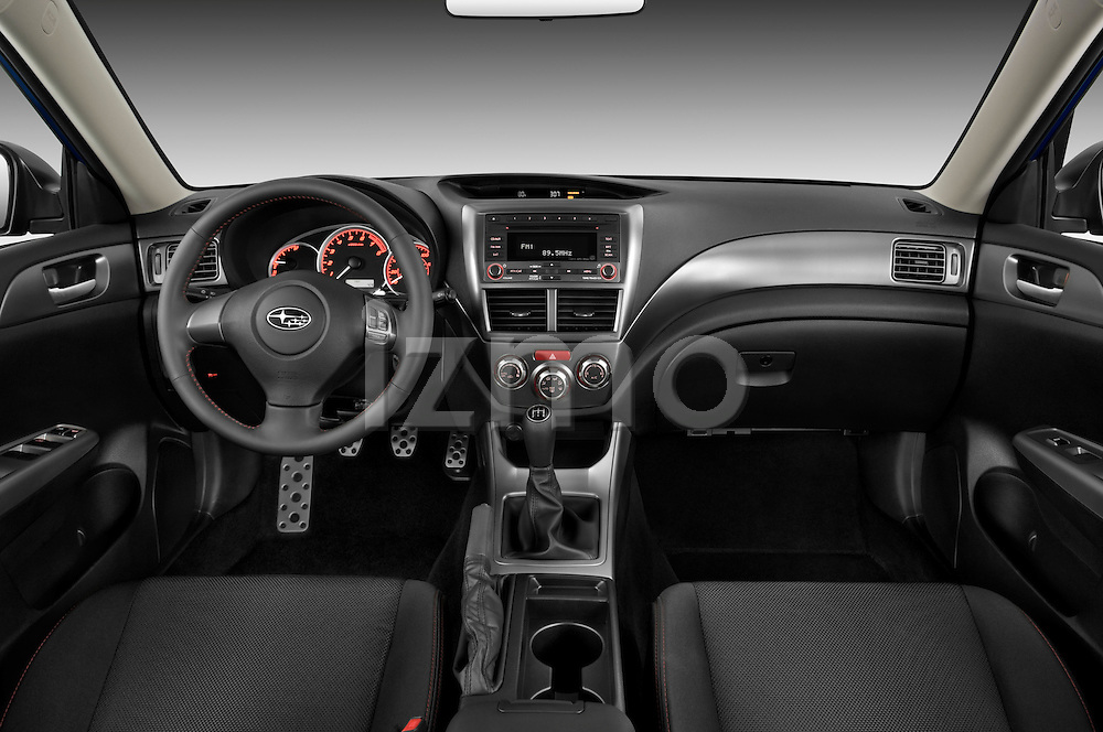 Straight dashboard view of a 2009 Subaru Impreza Wagon WRX.
