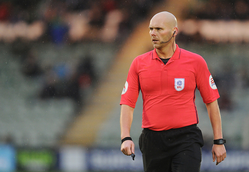 Referee Charles Breakspear<br /> <br /> Photographer Kevin Barnes/CameraSport<br /> <br /> The EFL Sky Bet League One - Plymouth Argyle v Fleetwood Town - Saturday 24th November 2018 - Home Park - Plymouth<br /> <br /> World Copyright © 2018 CameraSport. All rights reserved. 43 Linden Ave. Countesthorpe. Leicester. England. LE8 5PG - Tel: +44 (0) 116 277 4147 - admin@camerasport.com - www.camerasport.com