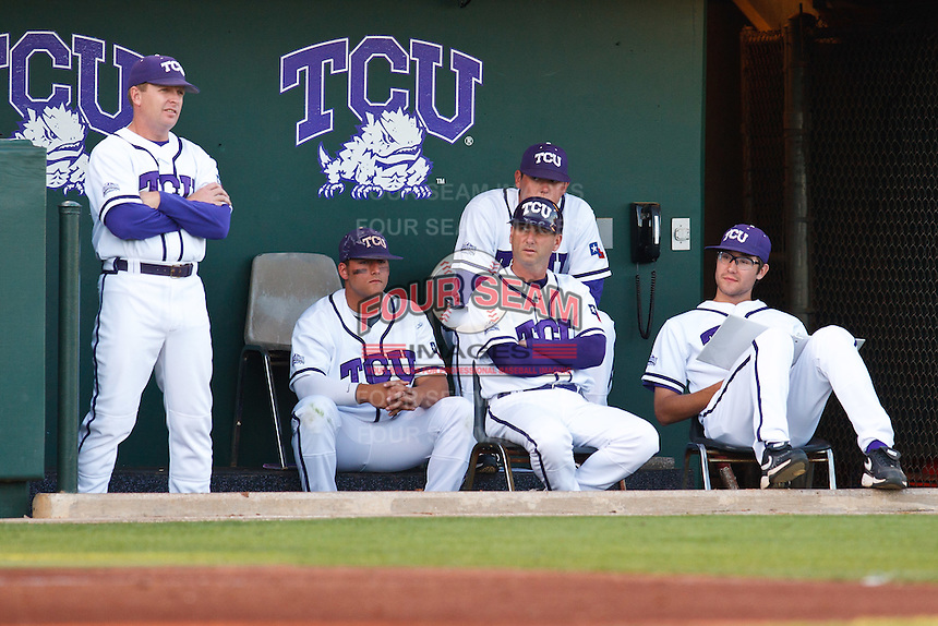 TCU dugout April 27th, 2010; NCAA Baseball action, Baylor University Bears vs TCU Horned Frogs at Lupton Stadium in Fort Worth, Tx;  TCU won 5-4 in extra innings.