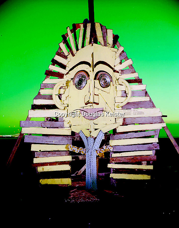 Folk Art built from driftwood and debris in the 1970's and 80's at the Emeryville Mudflats, Emeryville, California