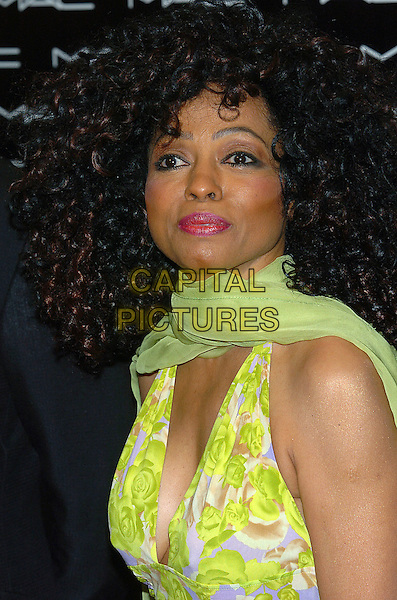 DIANA ROSS.The launch of the Diana Ross Collection as part of the New 2005 Beauty Icon Series at the M.A.C. Cosmetics Store, Los Angeles, CA.January 20th, 2005.Photo Credit: Jacqui Wong/AdMedia.headshot, portait, green floral print halterneck, plunging neckline, cleavage, green chiffon sheer scarf, wrap, ringlets, big curly hair.www.capitalpictures.com.sales@capitalpictures.com.© Capital Pictures.