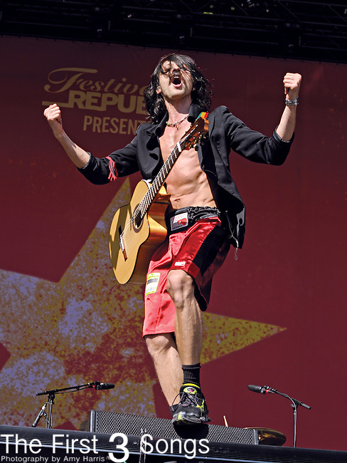 Eugene Hütz of Gogol Bordello performs during Day 1 of the Orlando Calling music festival at Citrus Bowl Park in Orlando, Florida on November 12, 2011.