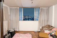 D-915 Francisco Valencia. The interior livingroom windows of apartments in the Chihuahua building of Tlatelolco. Mario Pani´s Tlatelolco, plaza de las 3 culturas, Mexico DF