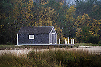 Waterfront boathouse, Pleasant Bay, Chatham, Cape Cod, Massachusetts, USA