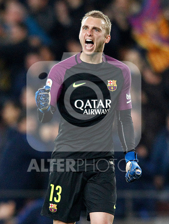 FC Barcelona's Jasper Cillessen celebrates goal during Spanish Kings Cup semifinal 2nd leg match. February 07,2017. (ALTERPHOTOS/Acero)