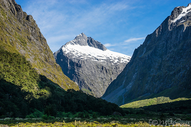View from Monkey Creek of the majestic mountains just off Milford Road, Fiordland, New Zealand