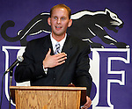 SIOUX FALLS, SD -- MARCH 4 -- Travis Traphagen expresses his gratitude for the opportunity after being named head women's basketball coach at the University of Sioux Falls during a press conference Tuesday afternoon at the Stewart Center on campus. Traphagen, 31, spent this past season as an assistant for the USF Cougars women's team after 6 seasons as an assistant for Augustana College women's basektball program.