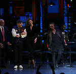 Reggie Jackson, Danny Burstein, Maggie Gyllenhaal, Whoopi Goldberg during the Curtain Call for the Roundabout Theatre Company presents a One-Night Benefit Concert Reading of 'Damn Yankees' at the Stephen Sondheim Theatre on December 11, 2017 in New York City.