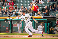 Grant Green (7) of the Salt Lake Bees during the game against the Sacramento River Cats in Pacific Coast League action at Smith's Ballpark on April 17, 2015 in Salt Lake City, Utah.  (Stephen Smith/Four Seam Images)