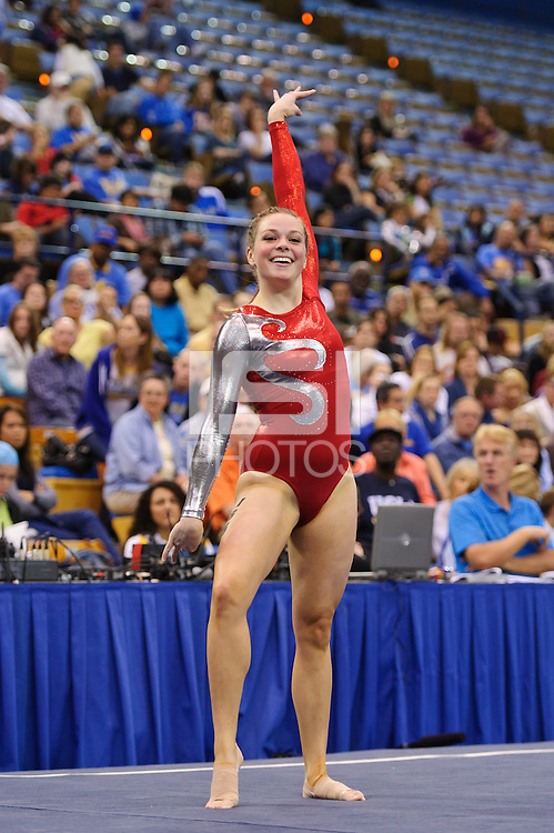 LOS ANGELES, CA - March 19, 2011:  Stanford's Shelley Alexander competes in floor exercise during the Pac-10 Championship at UCLA's Pauley Pavilon.   Stanford placed fourth in the competition.