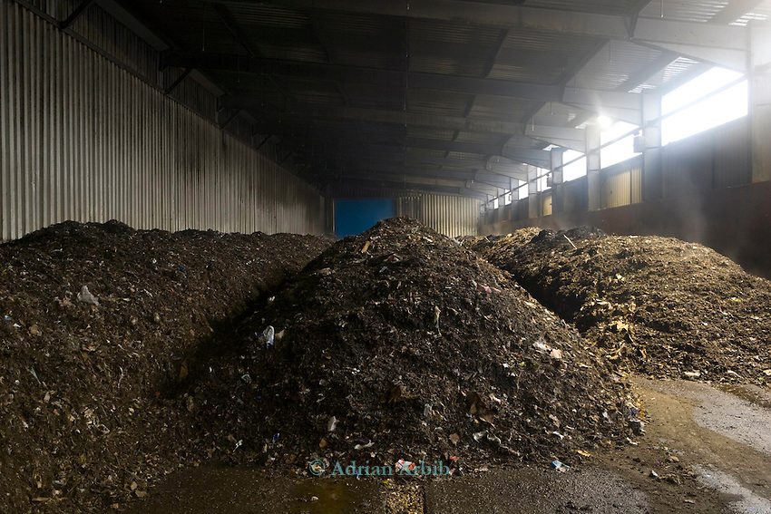 composted household residual waste inside massive composters at New Earth Solutions MBT plant, Wimbourne, Bournemouth. .