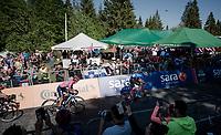 Maglia Rosa / overall leader Richard Carapaz (ECU/Movistar) sprinting towards the finish<br /> <br /> Stage 20: Feltre to Croce D'Aune-Monte Avena (194km)<br /> 102nd Giro d'Italia 2019<br /> <br /> ©kramon