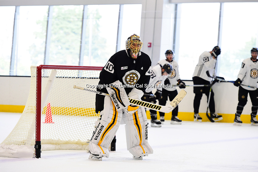 September 15, 2017: Boston Bruins goalie Tuukka Rask (40) waits for the start of drills during the Boston Bruins training camp held at Warrior Ice Arena in Brighton, Massachusetts. Eric Canha/CSM