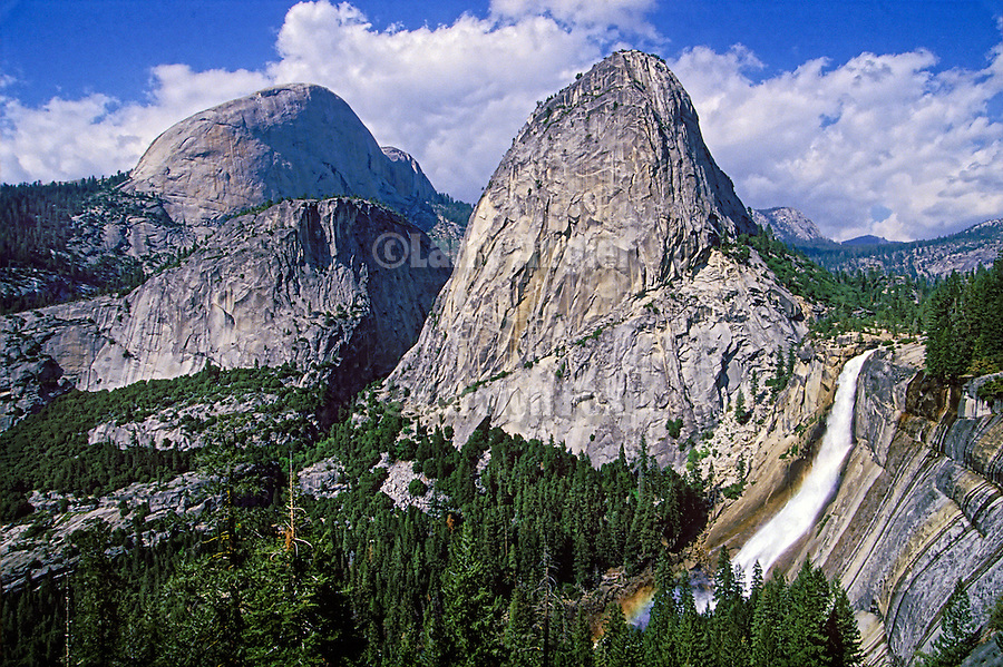 Nevada Falls with Liberty Cap and Mt. Broadrick, springtime in the SIerra Nevada, Yosemite National Park