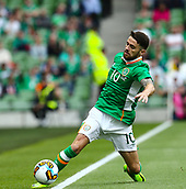June 4th 2017, Aviva Stadium, Dublin, Ireland; International Friendly, Ireland versus Uruguay;  Robbie Brady of Ireland tries to keep the ball in play