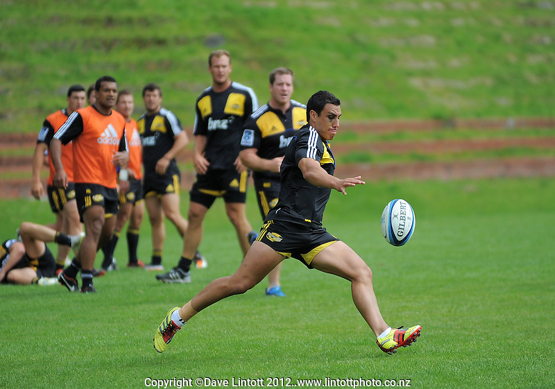 Dan Kirkpatrick clears during the  Hurricanes Super 15 rugby training at Rugby League Park, Wellington, New Zealand on Tuesday 7 February 2012. Photo: Dave Lintott / lintottphoto.co.nz